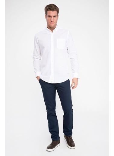 DeFacto Tek Cepli Düğmeli Yakalı Uzun Kollu Gömlek Beyaz